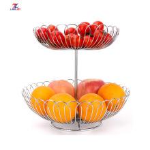 Estante de verduras de acero inoxidable de doble capa para frutas