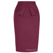 Grace Karin Women's High Stretchy Hips-Wrapped Vintage Retro Wine Red Pencil Skirt CL010454-4