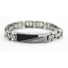 Diamante esmalte metal tag pulseira para homens