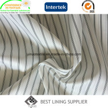 Men′s poliéster 100 terno manga listra preto e branco, forro de tecido de forro