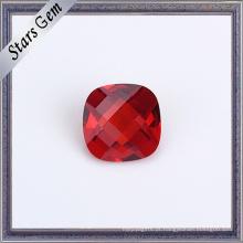 Linda Garnet Red Double Checker Cut Cushion Beads para Jóias