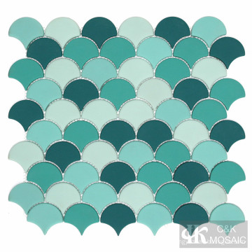 Greens Fish Scale Glass Mosaics for Shower Room