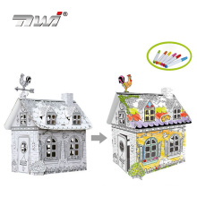 and-painted Doodle Paper House Child Drawing Toy DIY House with 6 Color Pen Education Toys