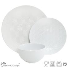 18PCS Lozenge Shape Debossed Set de dîner en céramique