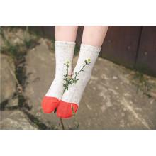 Coloridos hilos de algodón color brillante chica algodón calcetines