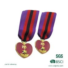 3D Star Logo Heart Shape Gold Plated Metal Medal