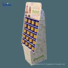 Présentoir de supermarché de carton de trois couches pour le shampooing, affichage de la publicité