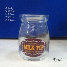 100ml Glass Pudding Jar 3.6oz Glass Decal Yogurt Milk Bottle Glass Dairy Jar