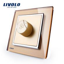 Livolo Nouvelle Arrivée Régulation De La Vitesse Du Ventilateur Panneau De Verre Doré AC 110 ~ 250 V Domicile Commutateur Mur