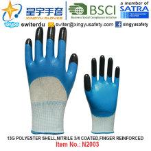 13G Полиэфирная оболочка Нитрил 3/4 с покрытием, перфорированные перчатки (N2003) с CE, En388, En420, рабочие перчатки