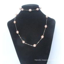 925 Silver Solid Silver Freshwater Pearl Neklace Bracelet Set