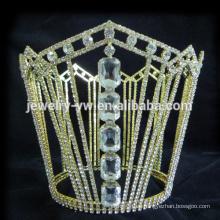 Corona de tiara de cristal totalmente redonda