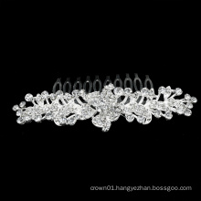 Silver Bling Rhinestone Crystal Alloy Pageant communion tiara bridal haircomb for Bride and Bridesmaids