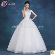 2017 elegantes encandes de renda fora do ombro vestido fino vestido de bola inchado barato mais vestido de noiva de tamanho