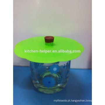 Non-toxic ambiental silício tampas copo de vidro