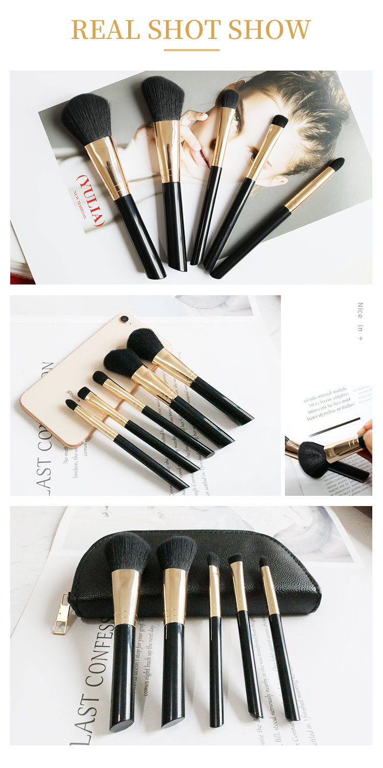 5 PIECE Essential travel makeup brush set 5