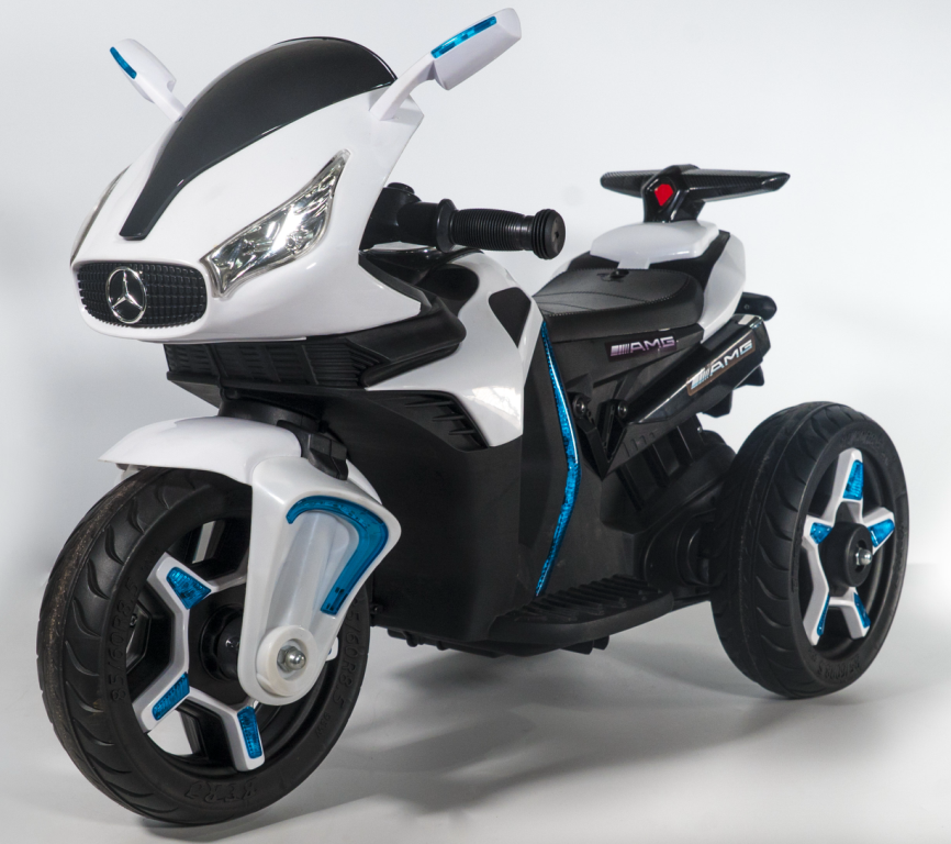 blue 3 wheel children electric car