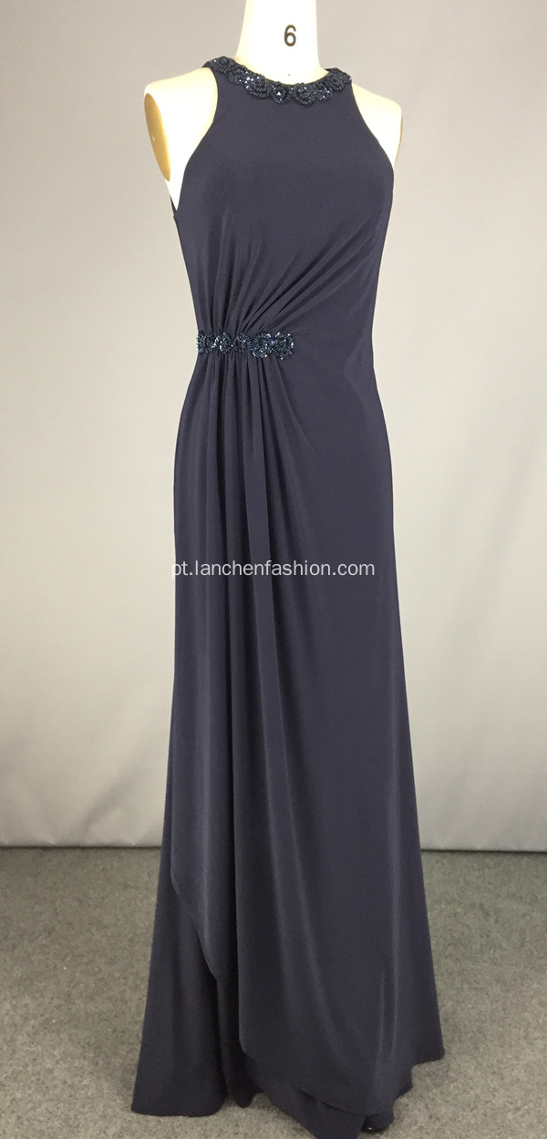 Long Navy Blue Prom Vestidos Atacado