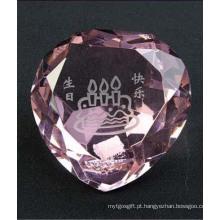 Diamante de forma de coração de cristal para decoração de casa