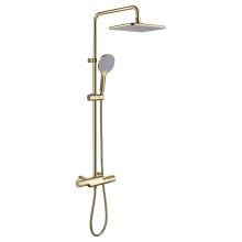 Mélangeur de douche de salle de bain exposé à 3 voies en or