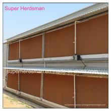 Almofada de resfriamento evaporativo para equipamento de alimentação de aves