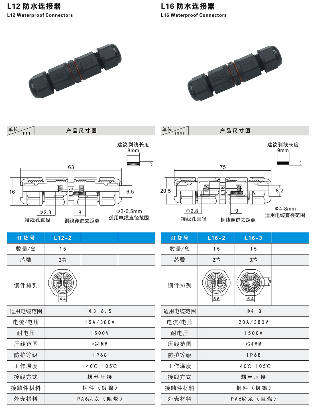 Parameters for L12-L16 2PIN 3PIN Waterproof Connector