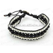 Friendship Black Onyx Round Beads Wrap Bracelets
