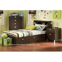 Crianças de madeira Conjunto de 3 peças com cama, placa de cabeçalho, suporte noturno
