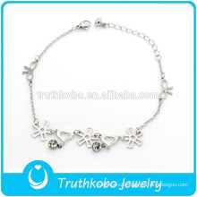 TKB-JB0011 Elegant beautiful flowers bows hearts chain silver 316L stainless steel charm bracelets for women