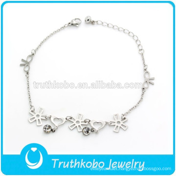 TKB-JB0011 Elegant beautiful flowers bows hearts chain silver 316L stainless steel charm bracelets for women