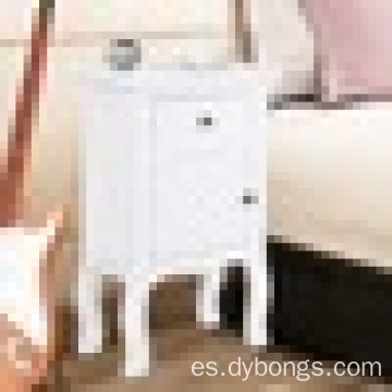 White Nightstand wIth Storage Drawer and Cabinet Wood End Accent Table