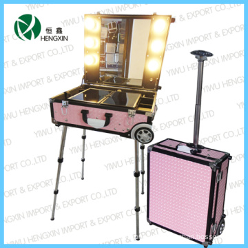 Pink Cosmetic Case with Trolly Light Makeup Case (HX-DY9608K)