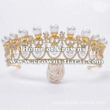 Unique Gold Wedding Pearl Tiaras