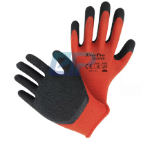 Red Polyester Liner Crinkle Dip Latex Construction Work Gloves