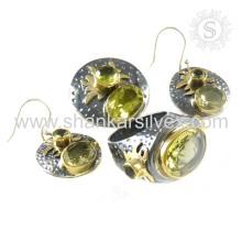 Ensemble de bijoux faits à la main à quartz Smoky à la recherche charmante Ensemble à bijoux faits à la main à quartz fumé Indien Ensemble en argent sterling 925