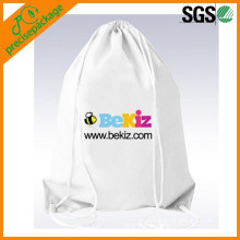 Eco-friendly cotton drawstring backpack with custom logo