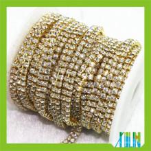 Cadeia de taças de diamante de base de várias linhas de ouro