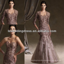 HM2008 Graceful jacket mother of the bride lace dress coffee