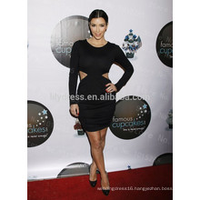 Black Sheath Knee Length O-Neck Long Sleeve Belly Vent Custom Made Red Carpet Celebration Dresses KD001 Kim Kardashian Dresses