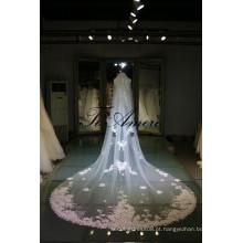 2016 Tulle Wedding Veils e Acessórios Duas Camadas Veil Com Pele Flores Beading Long Nupcial Veils VL086
