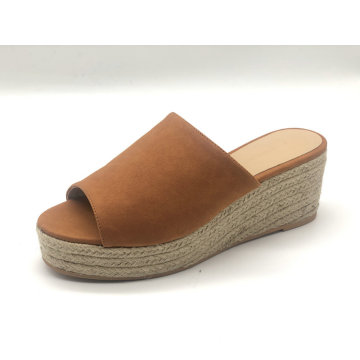Open Toe Slip-On Espadrille Chunky Plateau Wedge für Damen