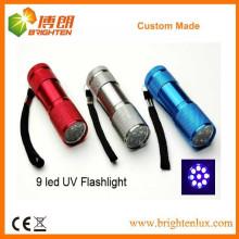 Fourniture d'usine Bon marché Bonne qualité Multicolide à main en aluminium 9 LED Blacklight Lampe torche UV