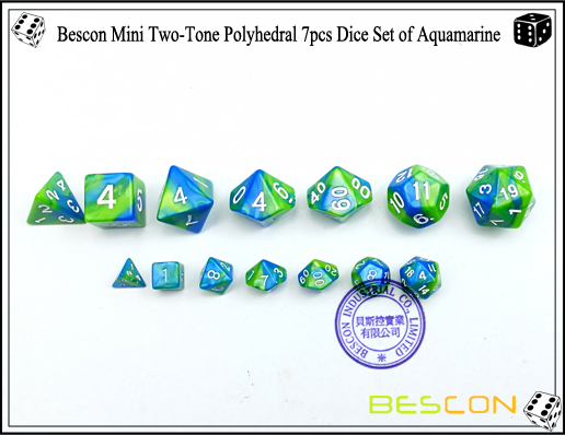 Bescon Mini Two-Tone Polyhedral 7pcs Dice Set of Aquamarine-3