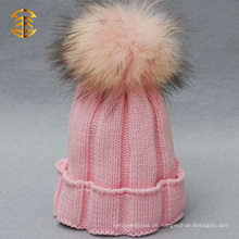 Kundenspezifische Mädchen-Art- und Weisehäkelarbeit-Baby-Hut mit Pelz Pom Pom