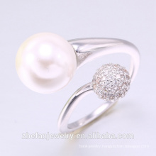 2018 ZheFan white pearl and round engagement ring and White CZ
