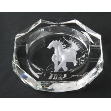 New Design Horse Laser Engraving Crystal Glass Cigar Ashtray (JD-YG-009)