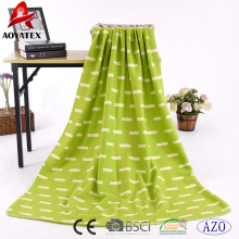 High quality cheap printed polar fleece blanket with overlock edging