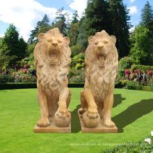 Atemberaubende große sitzende Granit Cast Lions Statue Garden Ornamente