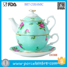 Pink&White Luxurious Gold Banding Tea Pot and Tea Cup Tea Set