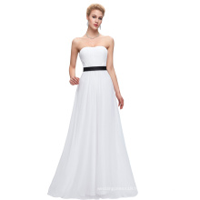 Starzz Strapless Off Shoulder Chiffon White Bridesmaid Dress ST000066-1